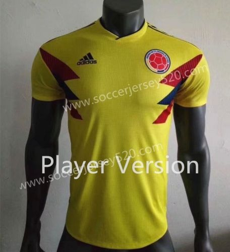 Player Version 2018 World Cup Colombia Home Yellow Thailand Soccer Jersey  AAA 84422160f