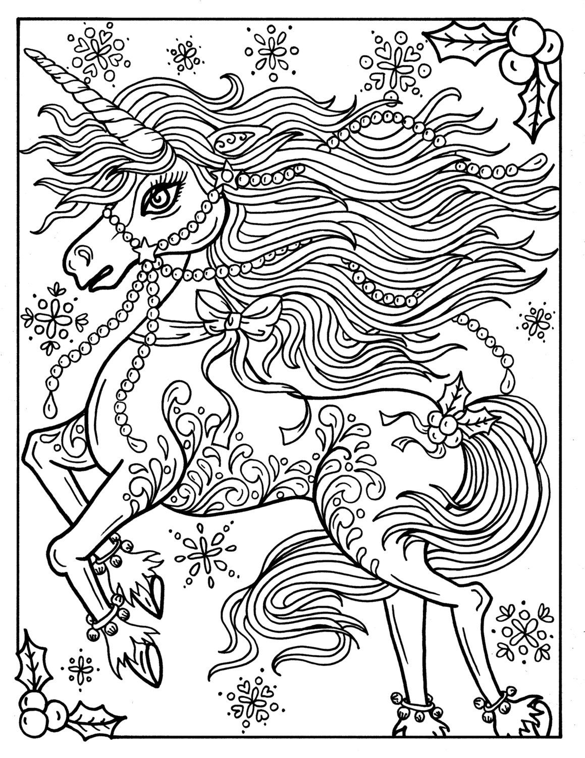 Christmas Unicorn Adult Coloring page Coloring book