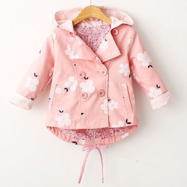 239429989 Floral Print Girls Coat Spring Autumn Hooded Girls Windbreaker Baby Girls  Jacket Kids Trench Coat On Sale - NewChic