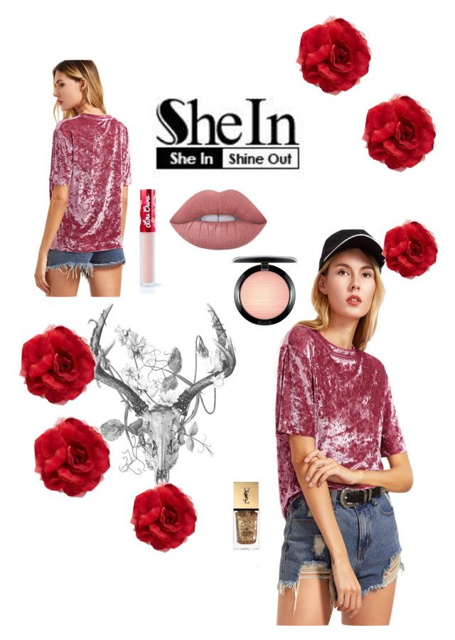 """""""She inside velvet drop contest"""" by bricks6897 ❤ liked on Polyvore featuring Cara, Lime Crime, MAC Cosmetics and Yves Saint Laurent"""