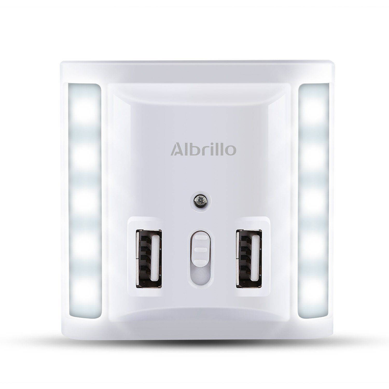 Albrillo Dimmable Night Light Dusk to Dawn Sensor Dual USB Wall Plate Charger - - Amazon.com