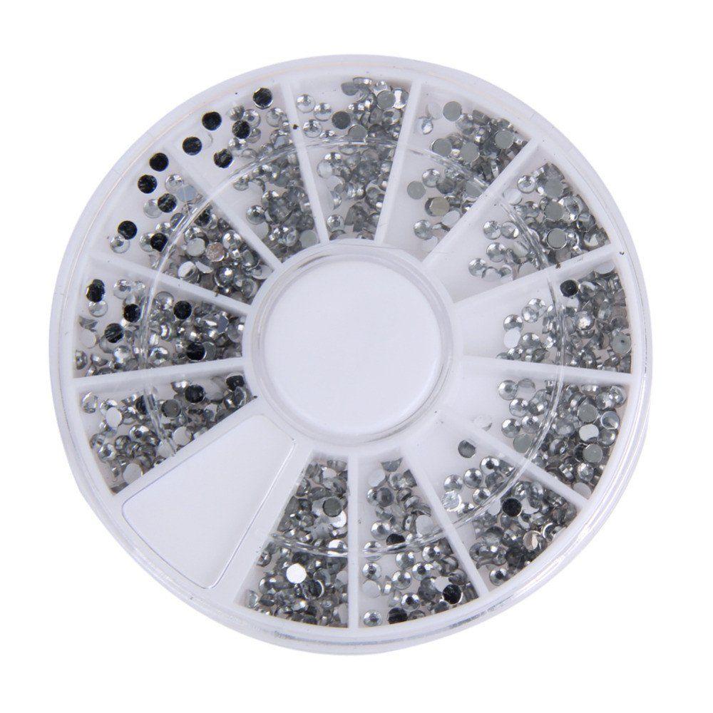 2000 pcs 1.5mm Round Glitter Nail Art Rhinestones nail decoration Nails Wheel Clear Transparent