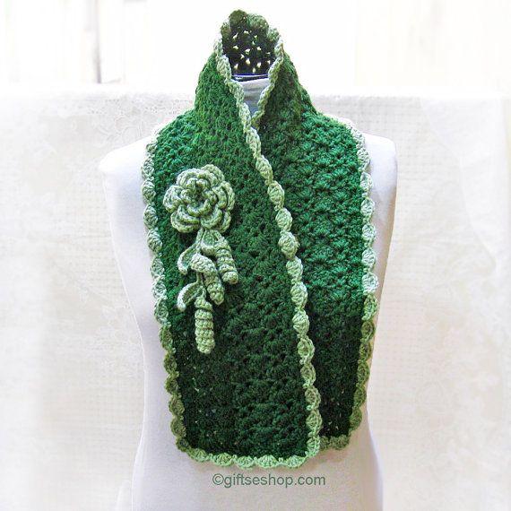 Green Crochet Scarf PATTERN Lace crochet scarf pattern Pattern is ...
