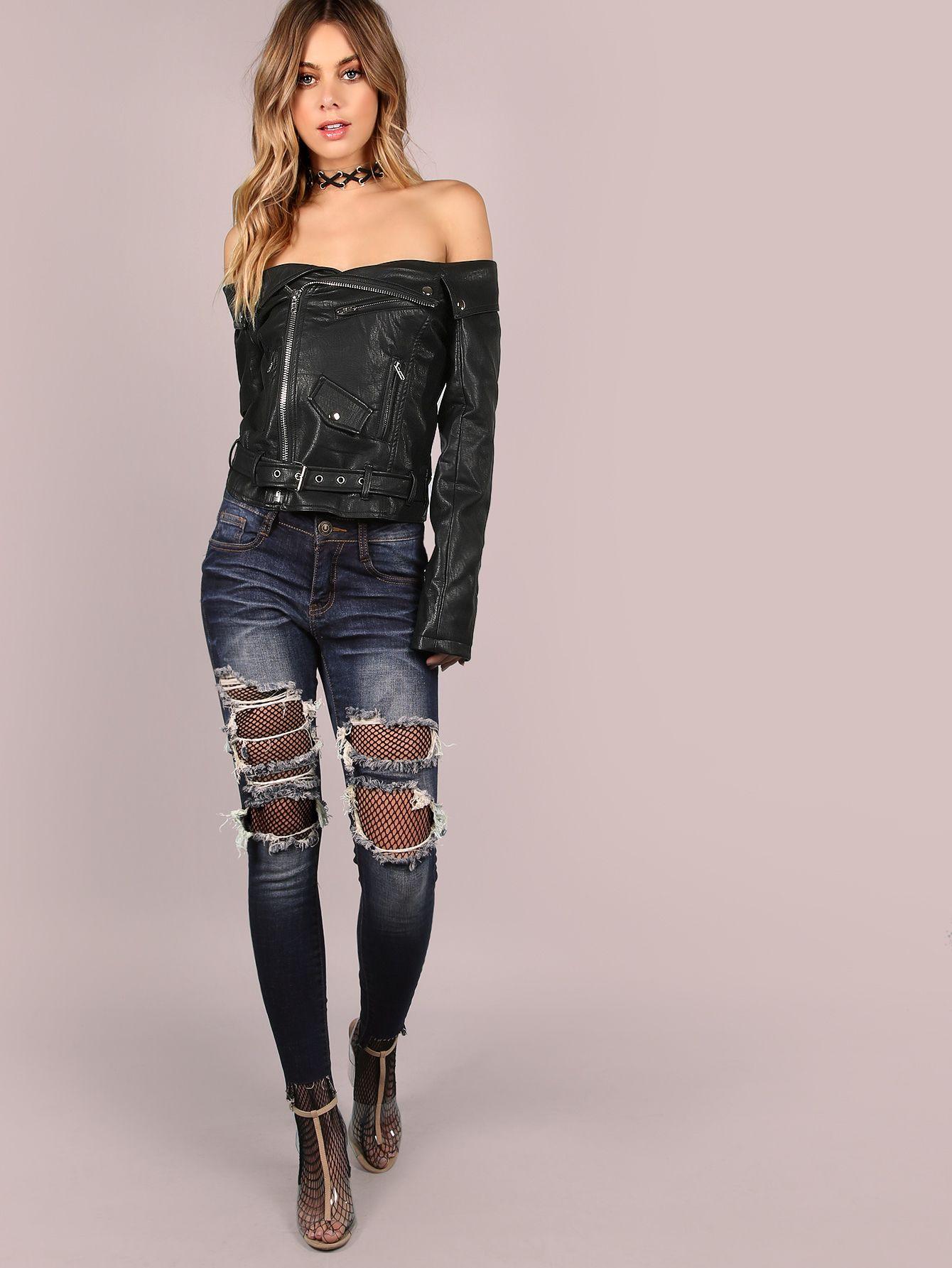 Black Faux Leather Off The Shoulder Belted Hem Biker