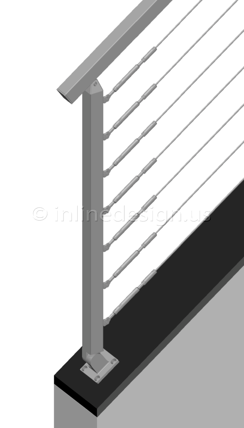 Best Pl Cable Railing Square Angle Mount Stairs Bottom Post 400 x 300