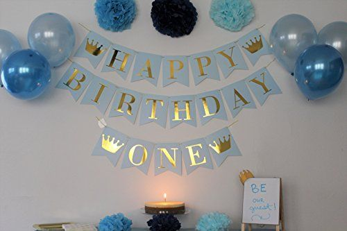 Birthday Decorations For Boys 1st Birthday Boy Blue And Gold