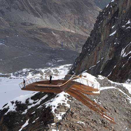 mountain-top viewing platform above a glacier in Tyrol, Austria by Innsbruck-based architects Astearchitecture mountain-top viewing platform above a glacier in Tyrol, Austria.