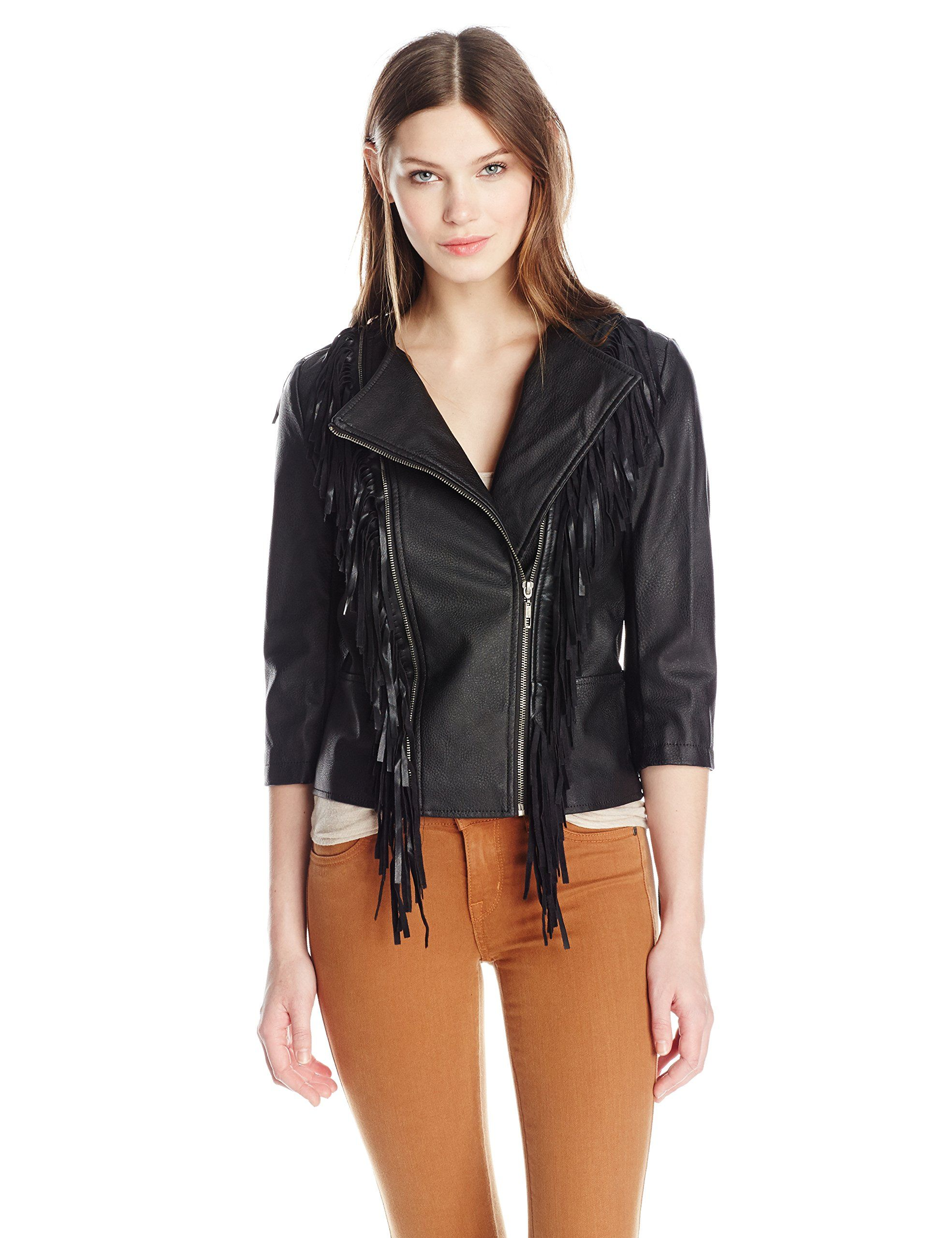 Glamorous Women's Fringe Detail Faux Leather Jacket, Black