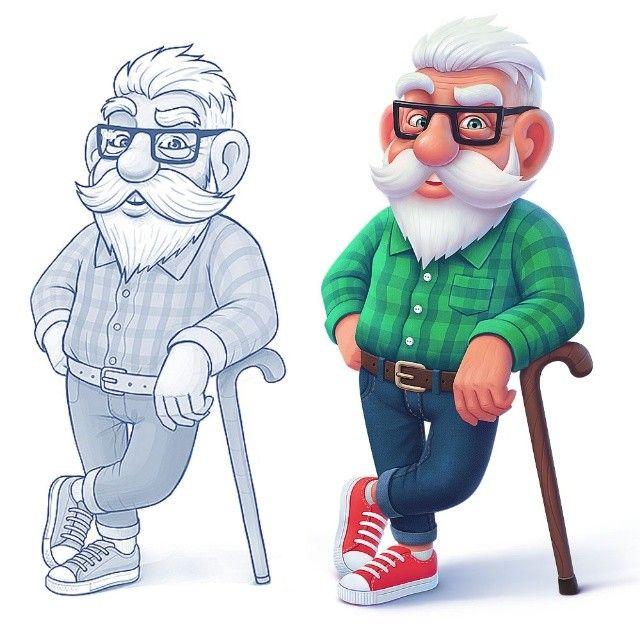 Прикольные рисунки про дедушек, поздравление