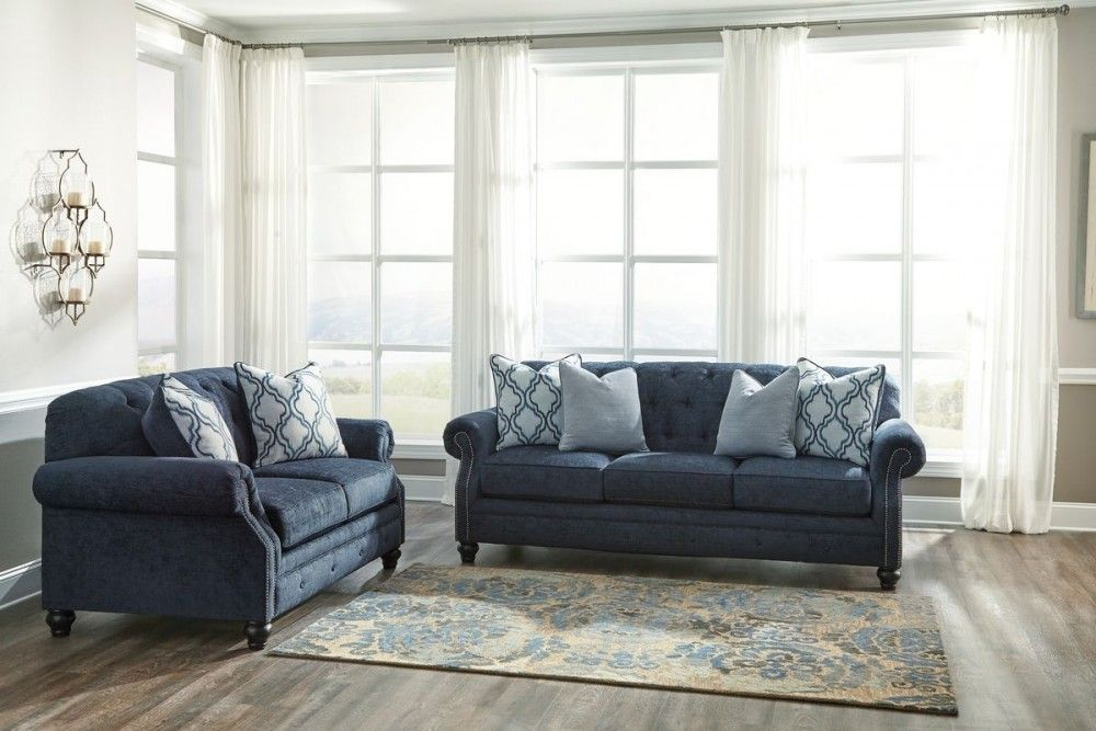 Ashley Furniture Lavernia Living Room Set In Navy Furniture