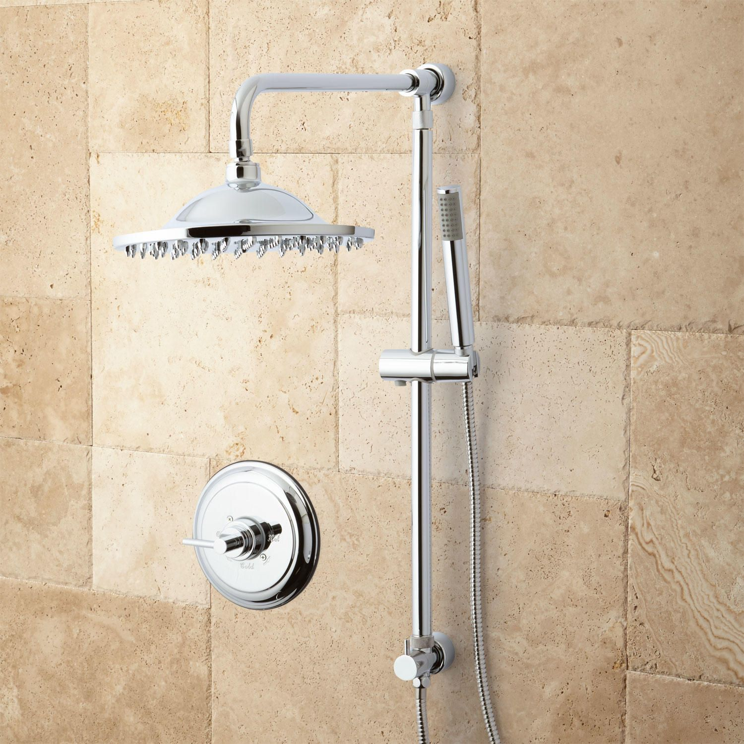 Bostonian Brass Rainfall Nozzle Shower System with Hand Shower - Bathroom