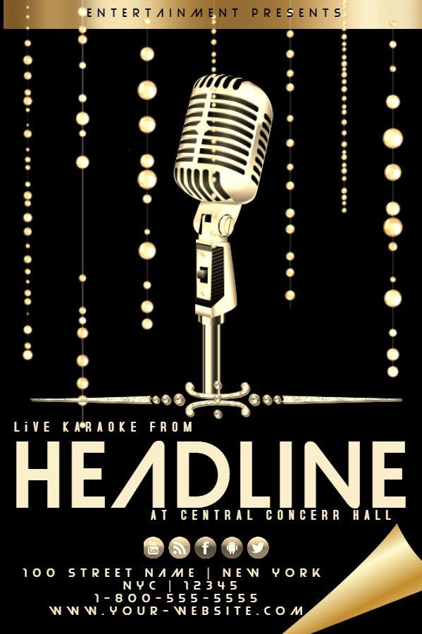 Golden Karaoke Flyer Design Click To Customize Karaoke Poster