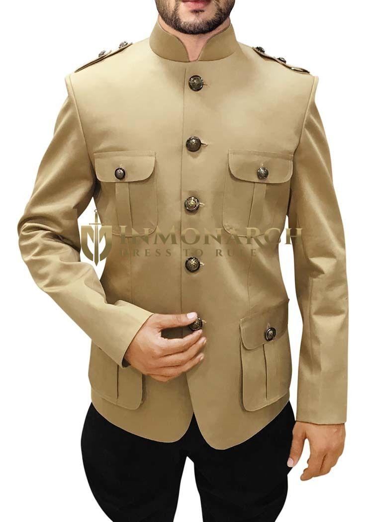 Mens Tan Cotton 2 Pc Jodhpuri Suit Safari Style https://www.inmonarch