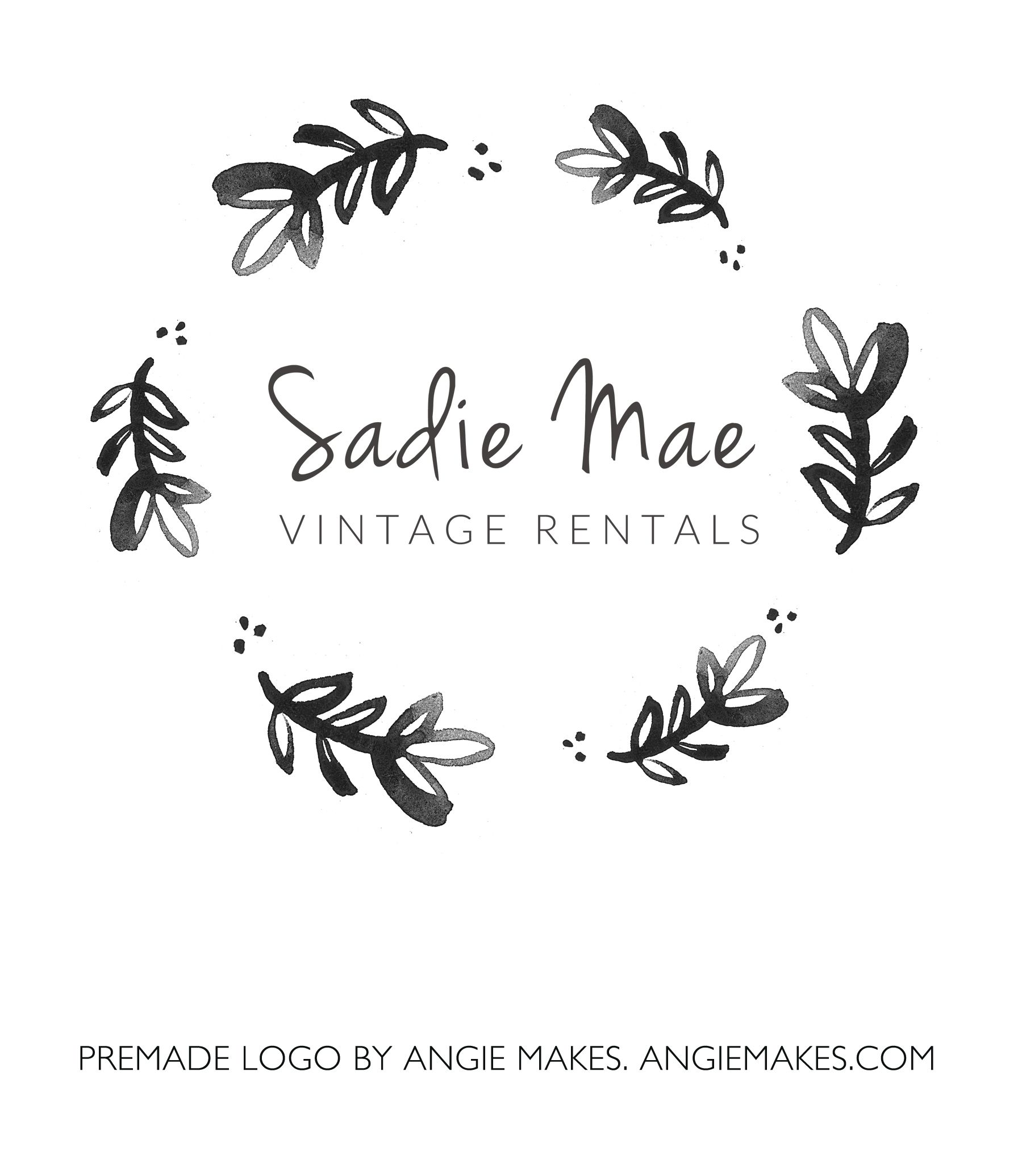 Watercolor Laurel Logo Sadie Watercolor business cards