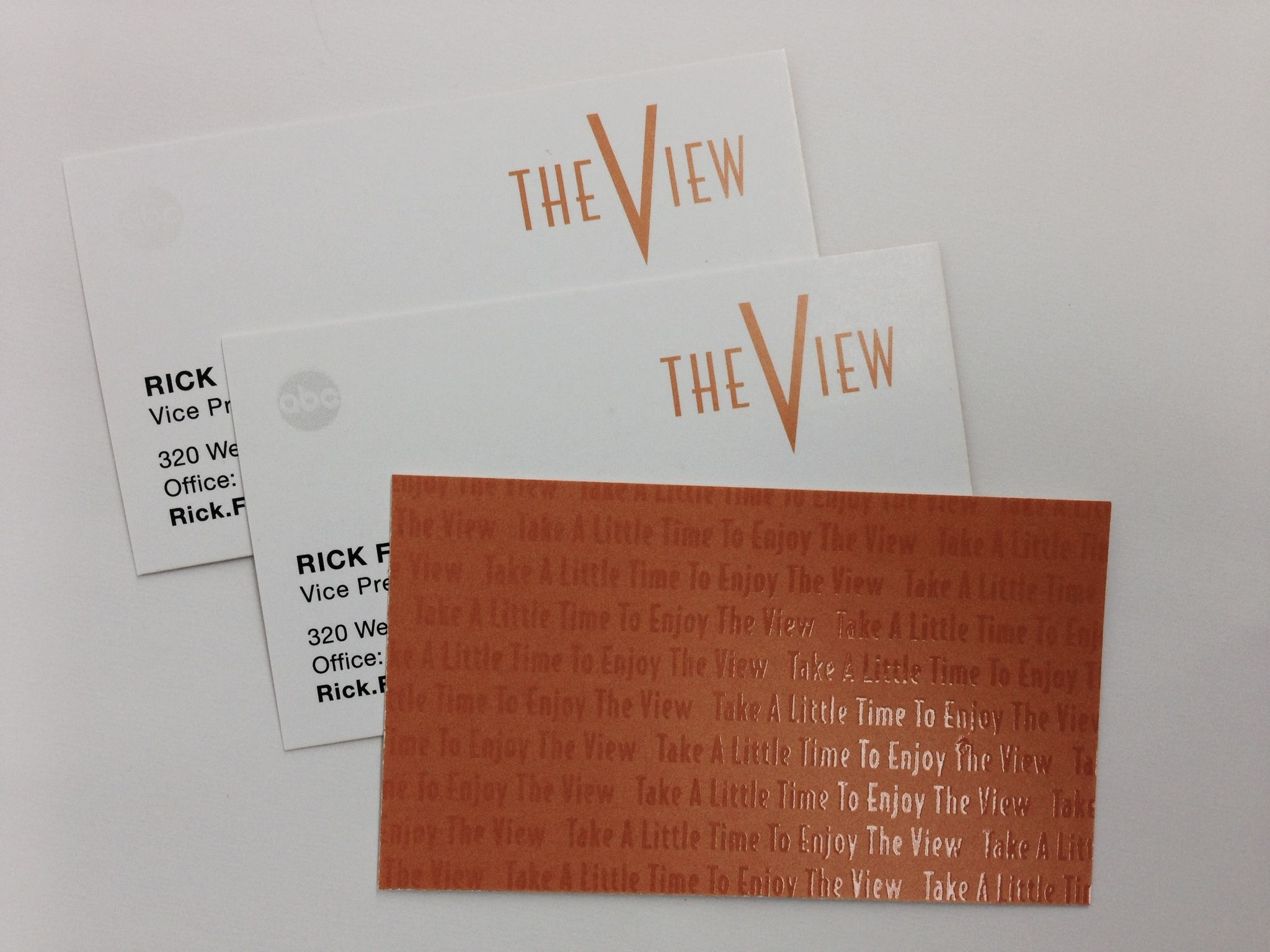 ABCs the View clear spot Varnish business card on the front and on ...