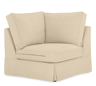 PB Comfort Square Slipcovered Corner, Box Edge, Polyester Wrapped Cushions, Brushed Canvas Honey