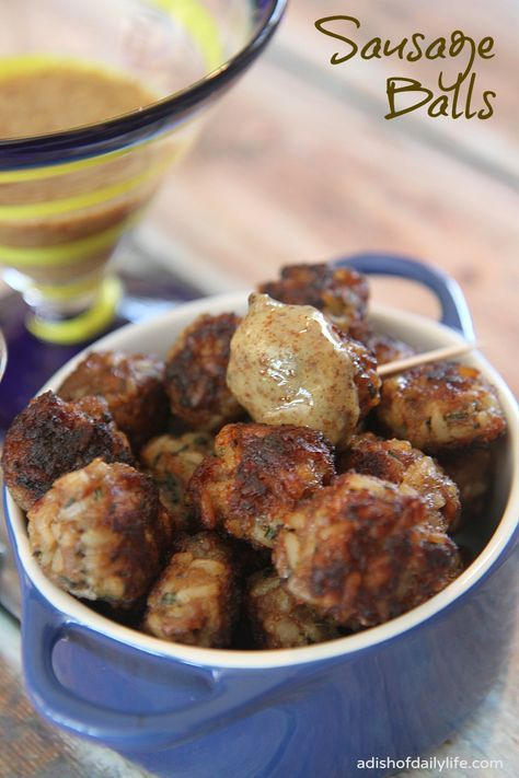 An easy-to-make appetizer, sausage balls are delicious served with your favorite mustard for dipping!