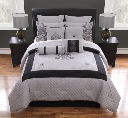10 piece cal king felicity black and gray comforter set by. Black Bedroom Furniture Sets. Home Design Ideas