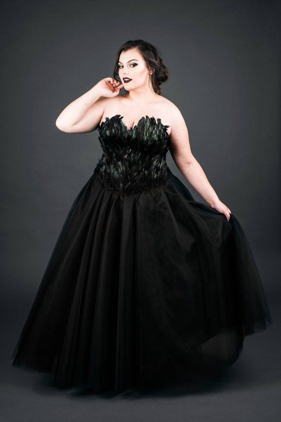 Black Swan Feather Couture Corset Full Length Tulle Gown Plus Size ...