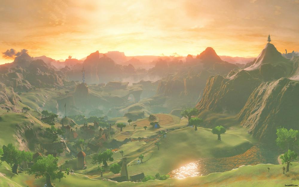 Zelda Breath Of The Wild Scenic Desktop Wallpaper Collection In 2020 Breath Of The Wild Dual Monitor Wallpaper Legend Of Zelda