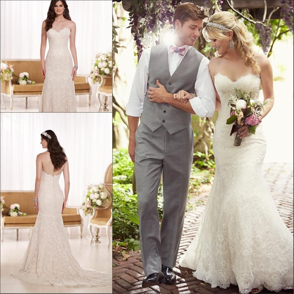 Plus size jacket dress for wedding   Lace Vintage Backless Mermaid Wedding Gowns Sweetheart