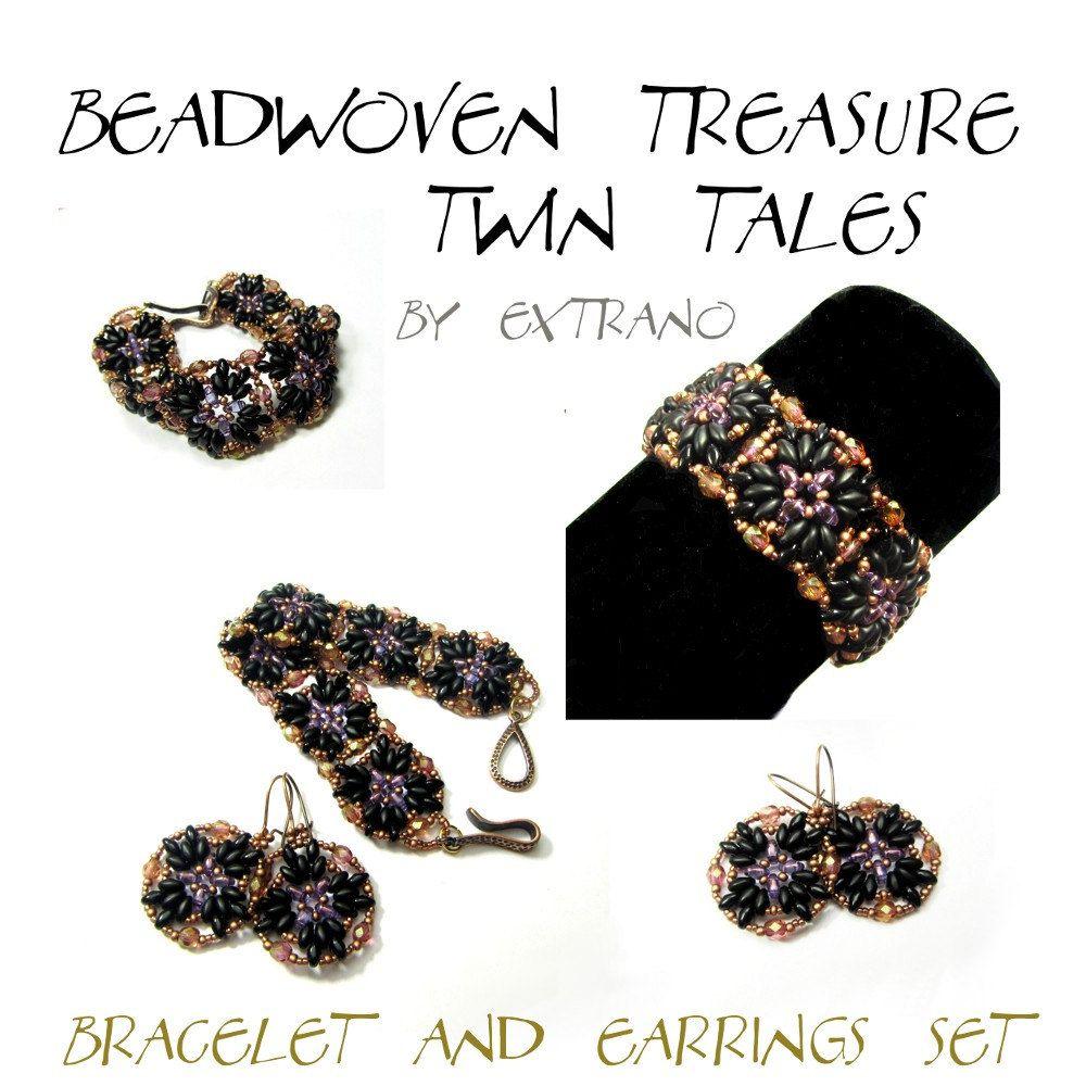 TUTORIAL - Bracelet Twin Superduo  - Beadwoven Treasure - TWIN TALES - immediate download. $5.00, via Etsy.