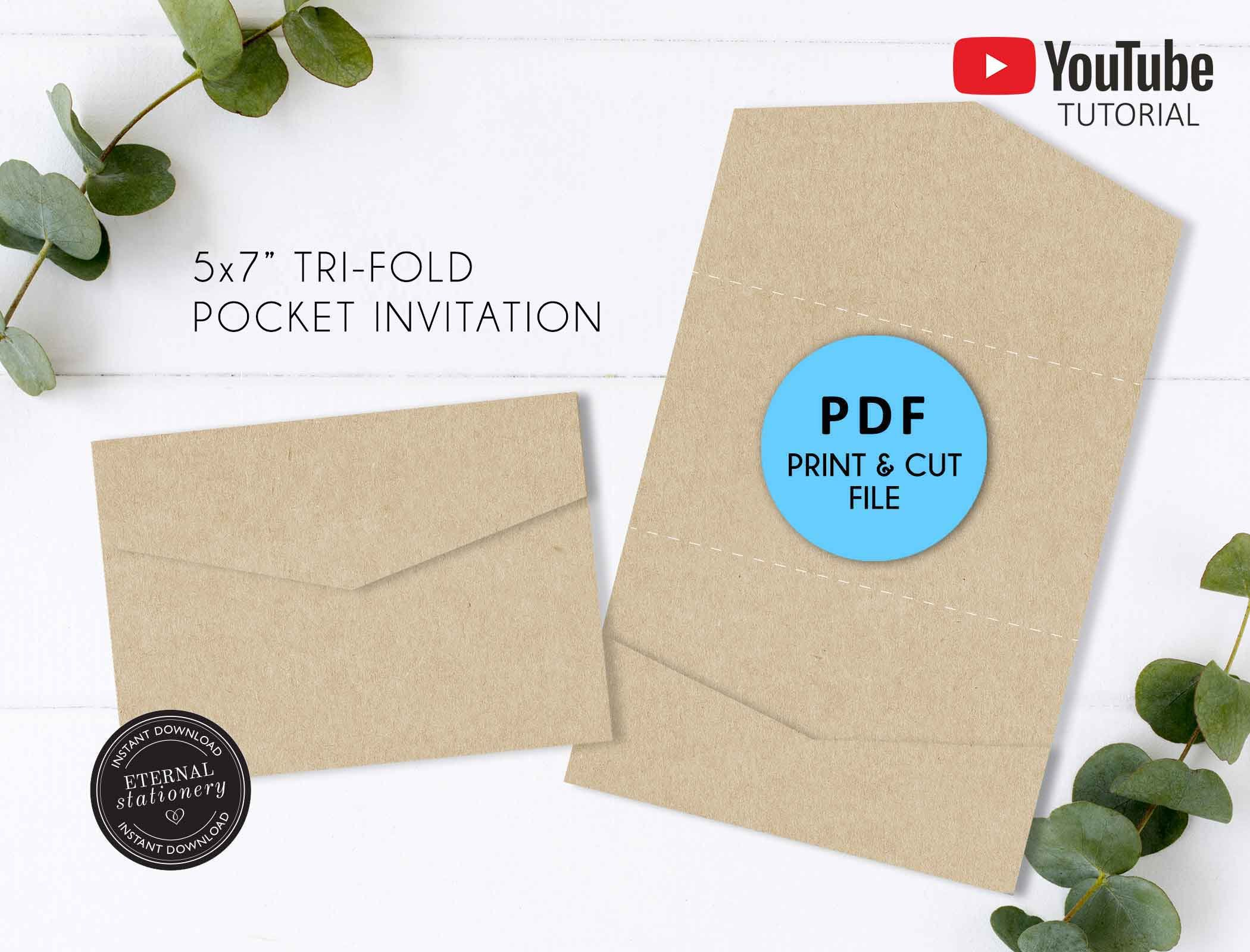 5x7 Pocket Wedding Invitation Template Pdf Pocket Folio Invitation Pocket Invitatio Pocket Wedding Invitations Wedding Invitation Templates Pocket Invitation