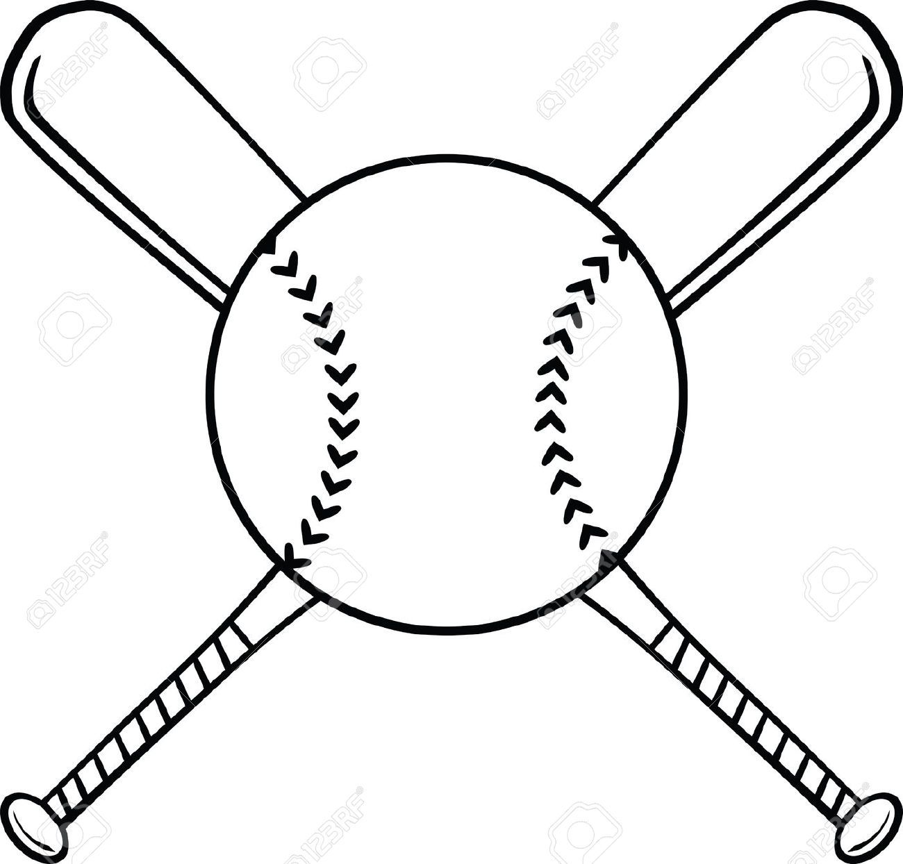 Baseball bat drawing. Softball ball and clipart