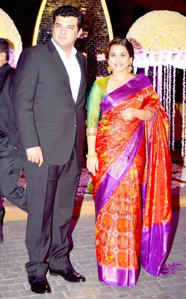 Vidya Balan And Husband Siddharth Roy Kapoor At Manish Malhotras Nieces Reception Bollywood