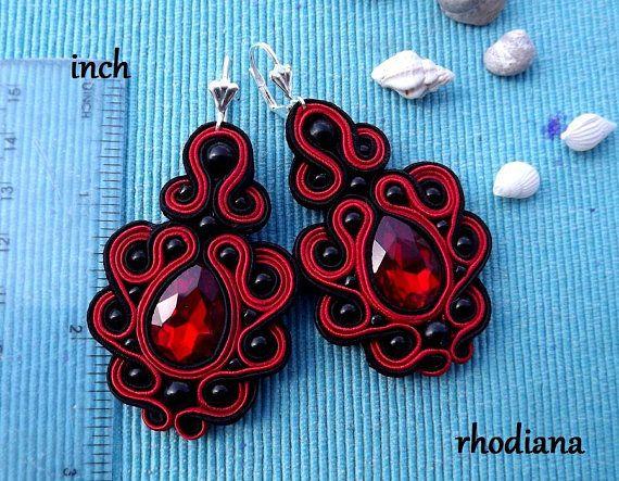 ac51ab3539e4 Mega Red   Black with Crystall Soutache Earrings