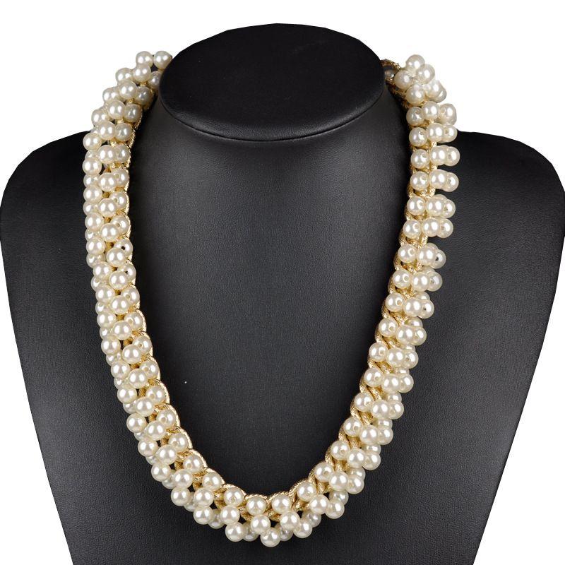Perla simulada Collar Mujeres Bib Collares y Colgantes Colar Verano Estilo de Joyería Para El Regalo Del Partido
