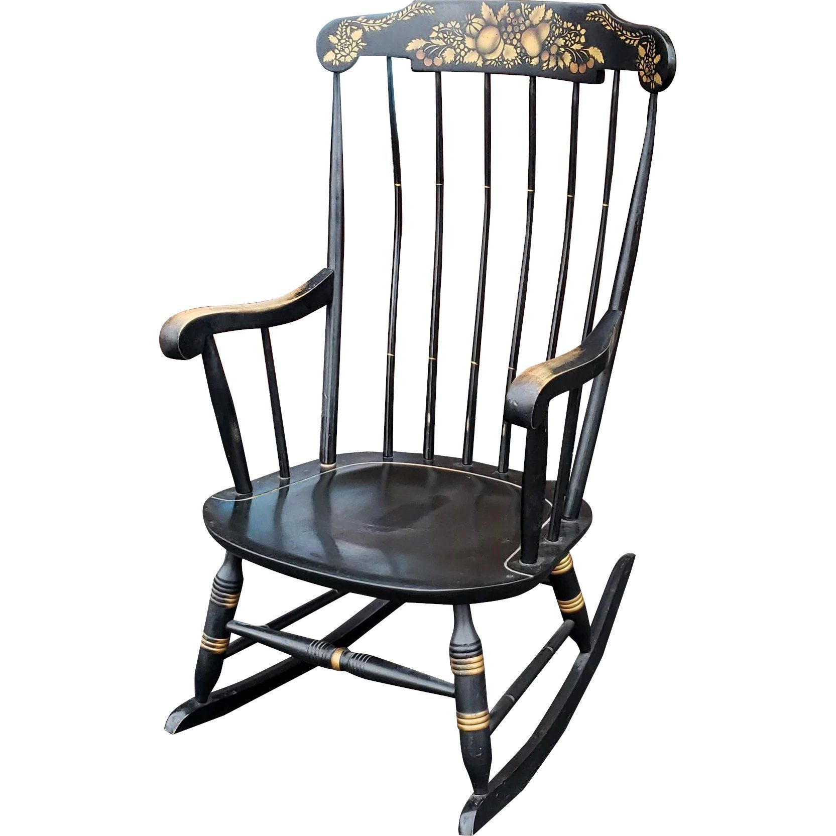 Vintage 1970s Black Hitchcock Style Painted Nichols Stone Co Rocking Chair Rocker Rocking Chair Nursery Chair Rocking Chair