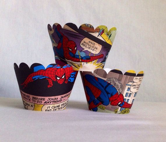 12 count SpiderMan cupcake wrappers comic book by JazzyBug on Etsy, $8.00