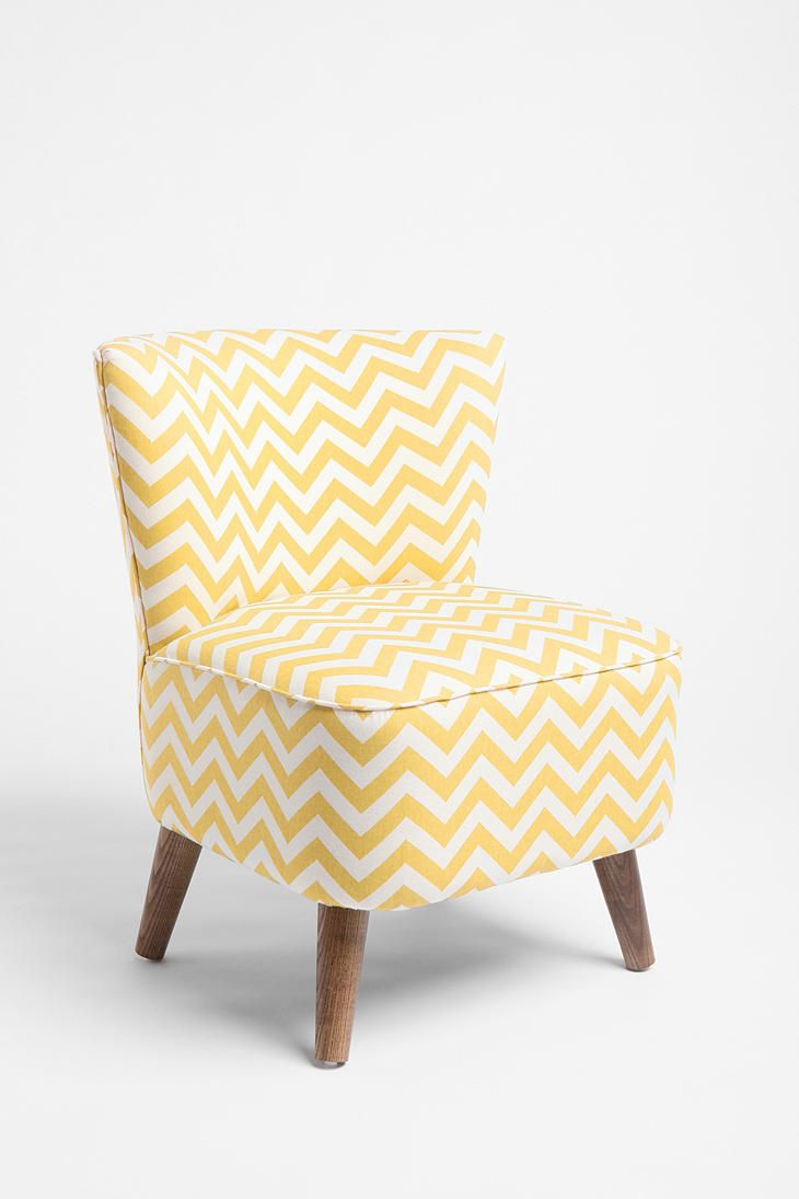 Charmant Yellow Chevron Chair. The Slightly Rustic Legs Are Lovely.