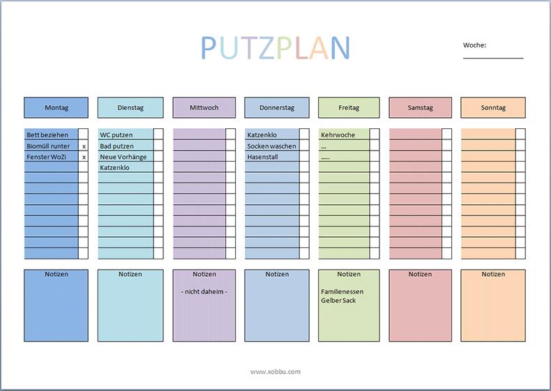 download putzplan mit extra feld f r t gliche aufgaben word putsplan pinterest. Black Bedroom Furniture Sets. Home Design Ideas
