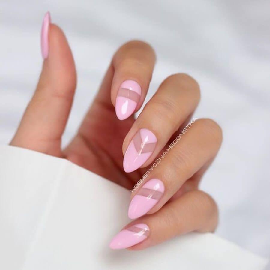 Розовые миндалевидные ногти фото