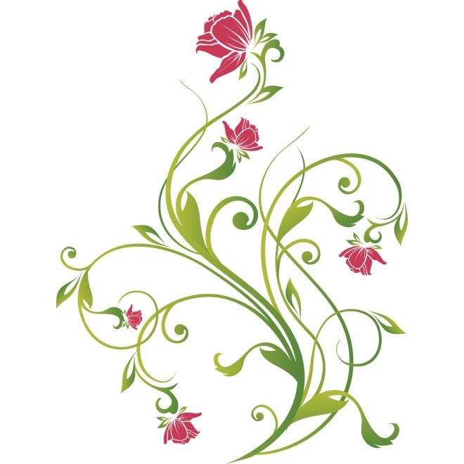 Green Flower Line Drawing : Vector pink flower with green leaf antique floral art