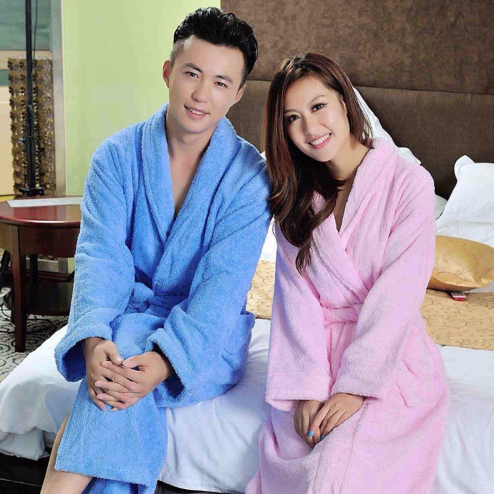 6fe346509c Cotton women bathrobe men terry long soft warm thicken nightdress ladies  nightgown girls sleepwear blanket towel