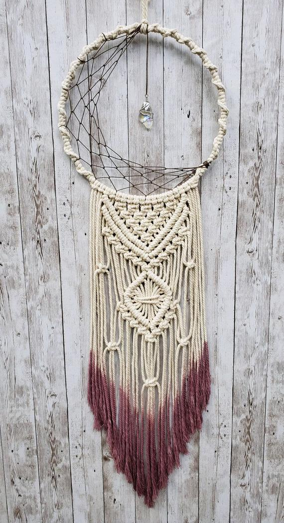Photo of Items similar to Macramé dream catcher with crystal on Etsy
