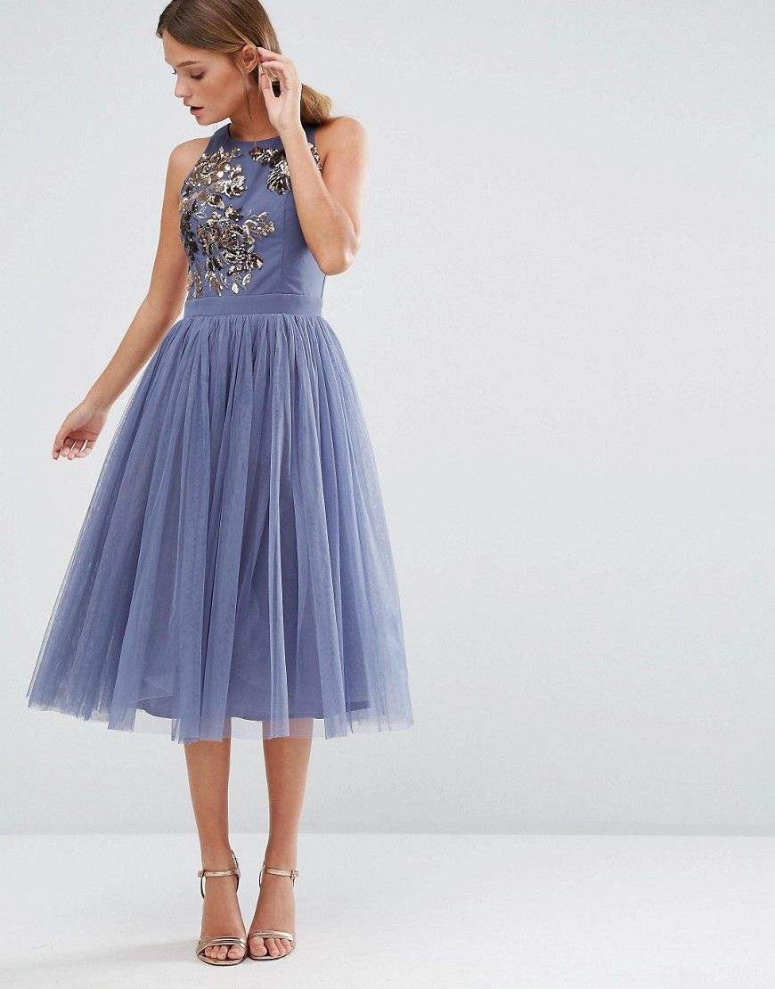 7a6281a9860ac6 Little Mistress Embellished Midi Dress with Tulle Skirt | Dresses ...