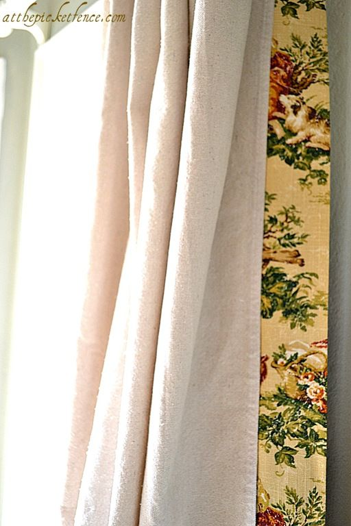 fabric trimmed drop cloth curtains home Pinterest Telas