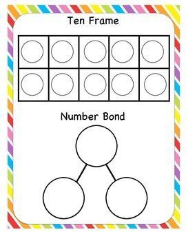Ten Frames And Number Bonds Addition Kindergarten Kindergarten Math Numbers Kindergarten