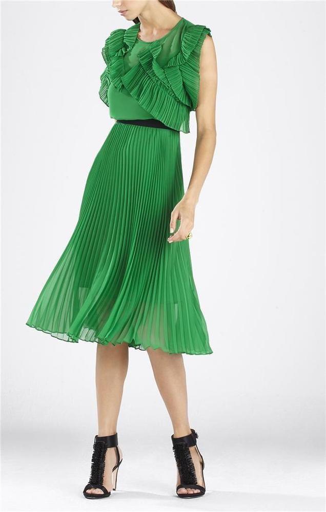 $399 BCBG MaxAzria Lanette Sleeveless Pleated Ruffle Dress SZ 2 ...