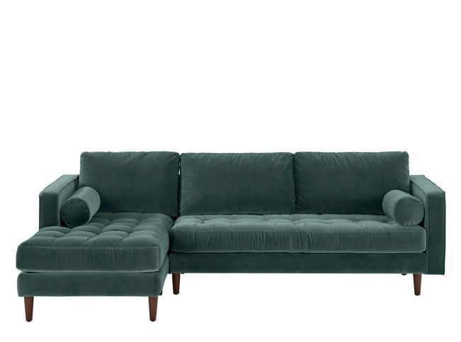 Scott 4 Seater Left Hand Facing Chaise End Sofa Petrol Cotton Velvet