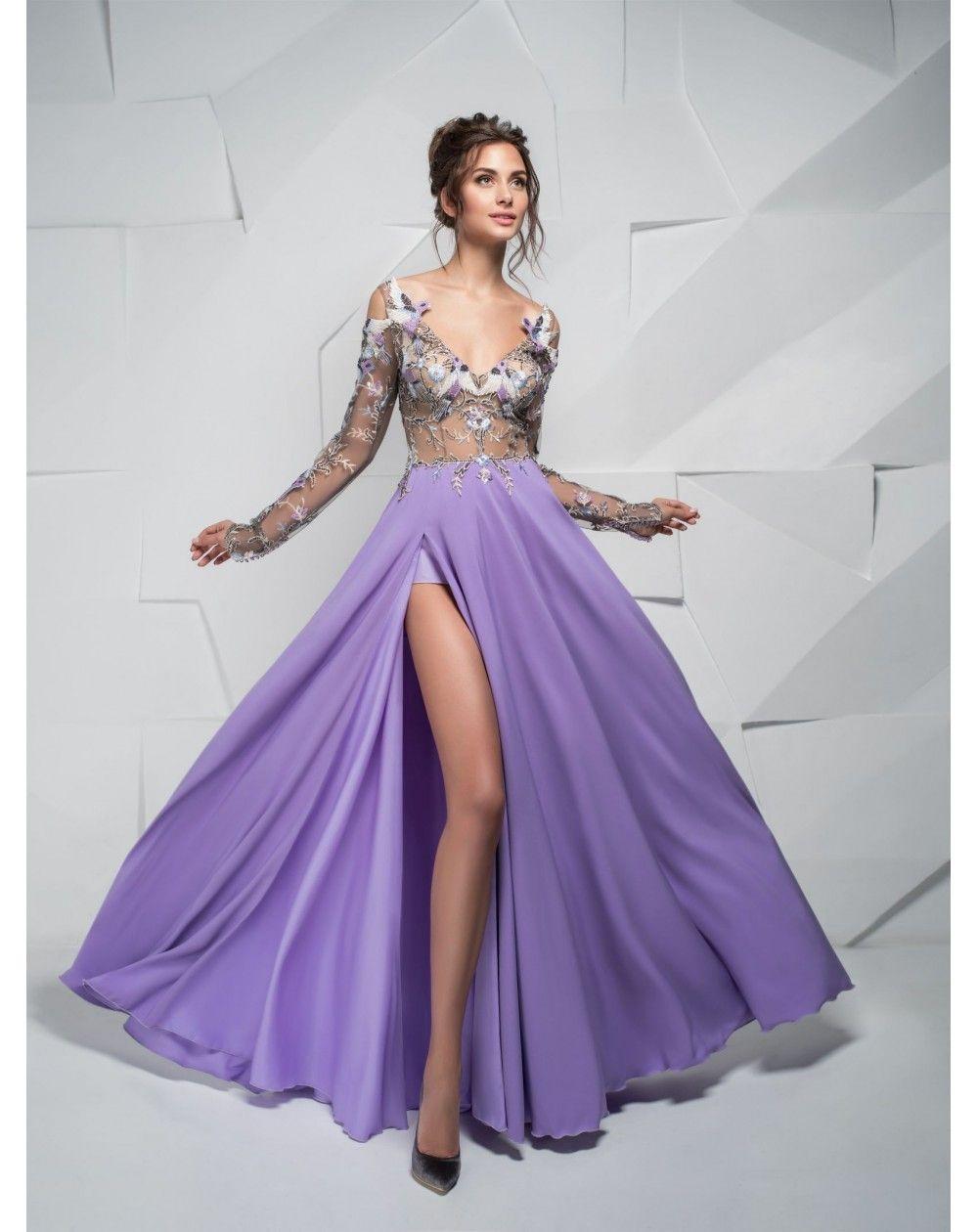 01a90d8b6364 Exkluzívne plesové šaty s fialovou sukňou s rozparkom z padavého materiálu.  Zvršok je vytvorený z