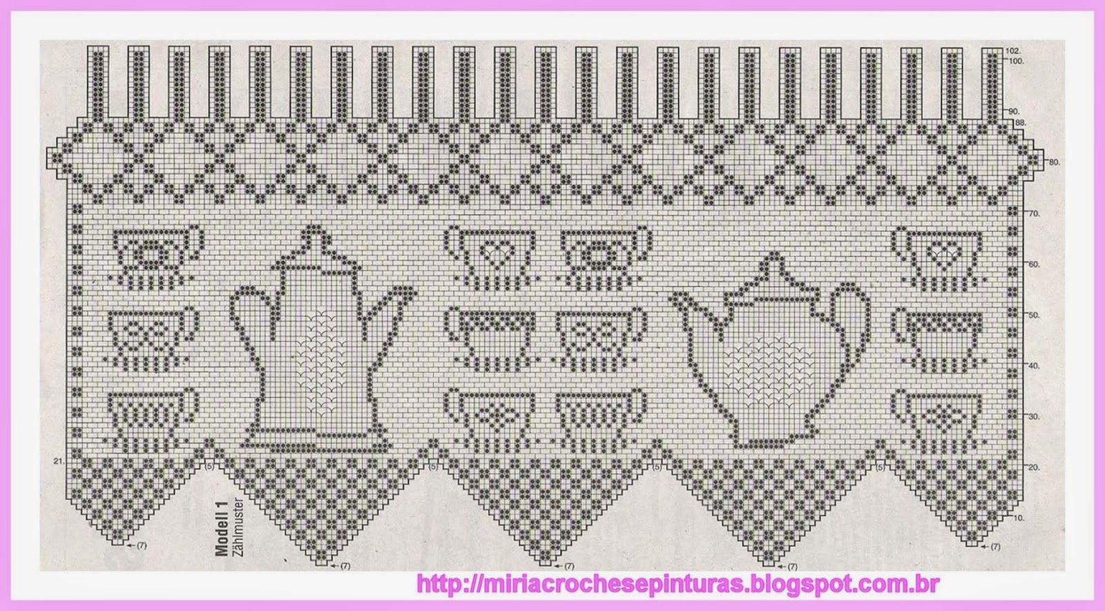 Miria Croch S E Pinturas Cortina De Croch Para Cozinha Crochet