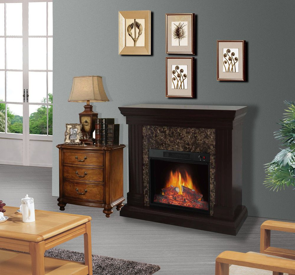 Indoor Electric Fireplace With Mantle Remote Space Heater Bedroom Living  Room