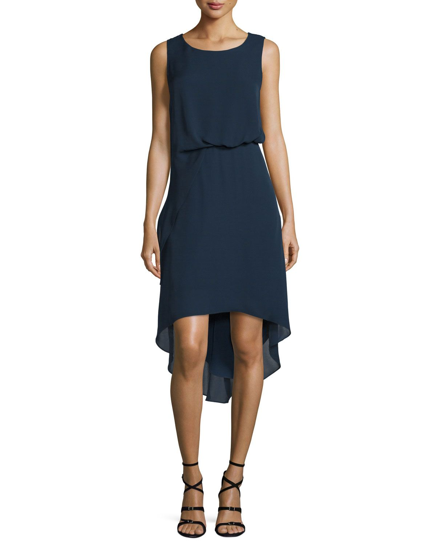 Hailey Sleeveless Tucked-Waist High-Low Dress, Women's, Size: 12, Midnight Blue - Kobi Halperin