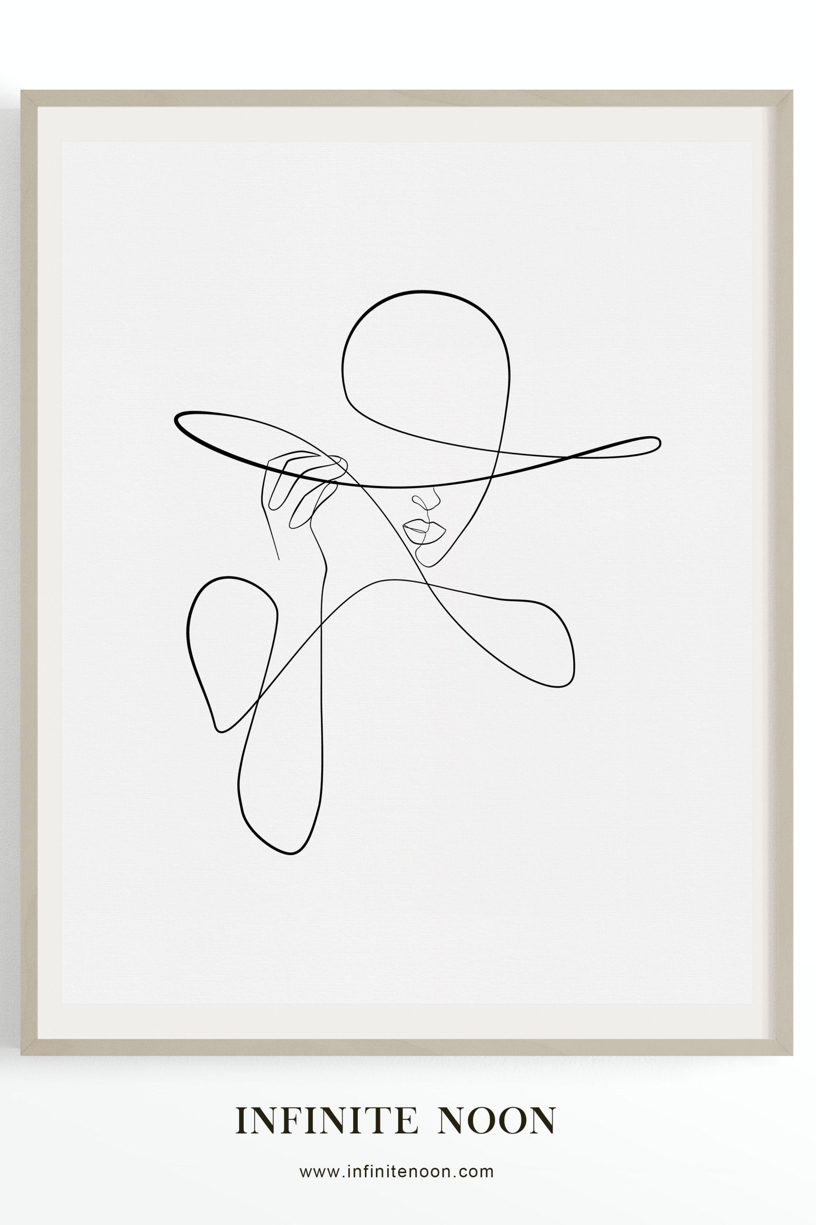 Hat Fashionista Minimal Fashion Wall Art, Fashionista Hat Line Drawing, Fashion …