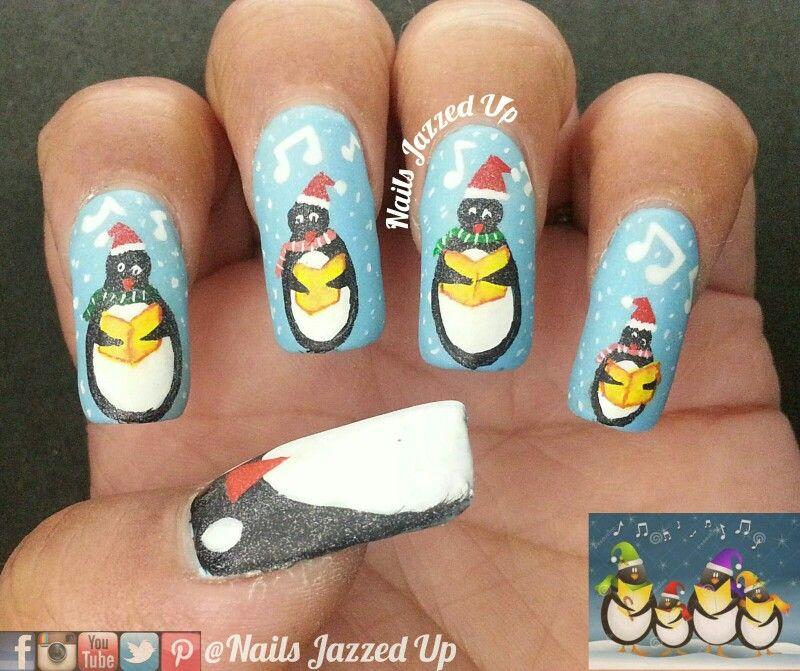 Penguins singing #carols for #dreamnailschallenge #penguins #christmas #winter #blue #white #black #penguins